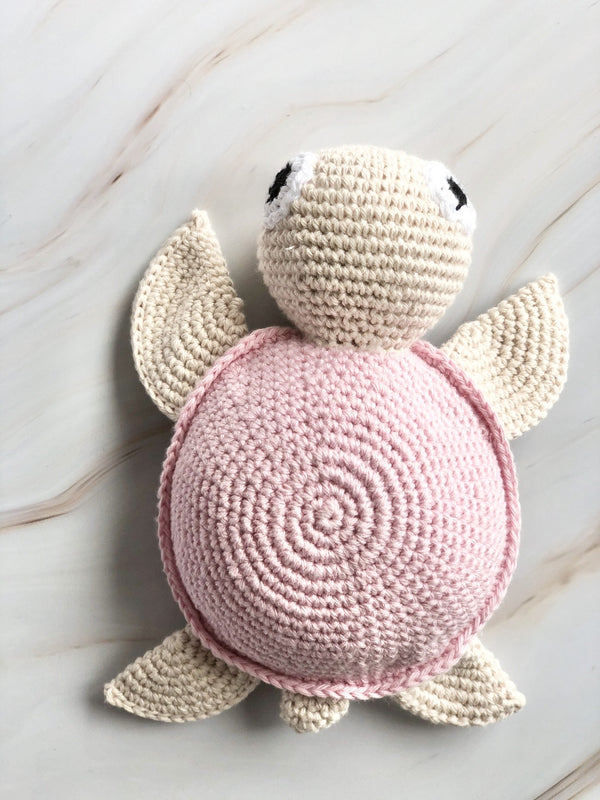 Handmade Crochet Squeakable Turtle - Pink, The Clean Market, The Clean Market