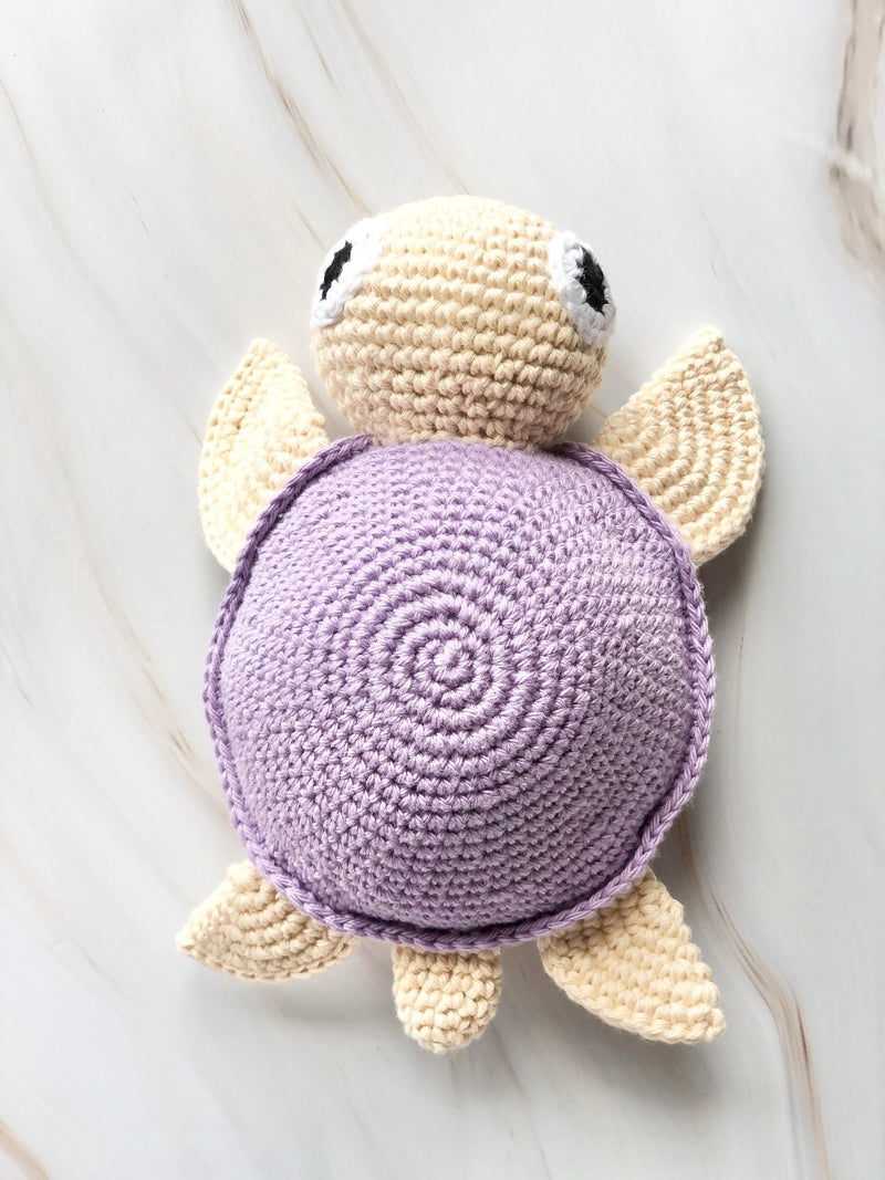 Handmade Crochet Squeakable Turtle - Purple, baby toys, The Clean Market, - The Clean Market