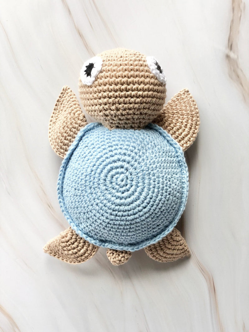Handmade Crochet Squeakable Turtle - Blue, baby toys, The Clean Market, - The Clean Market
