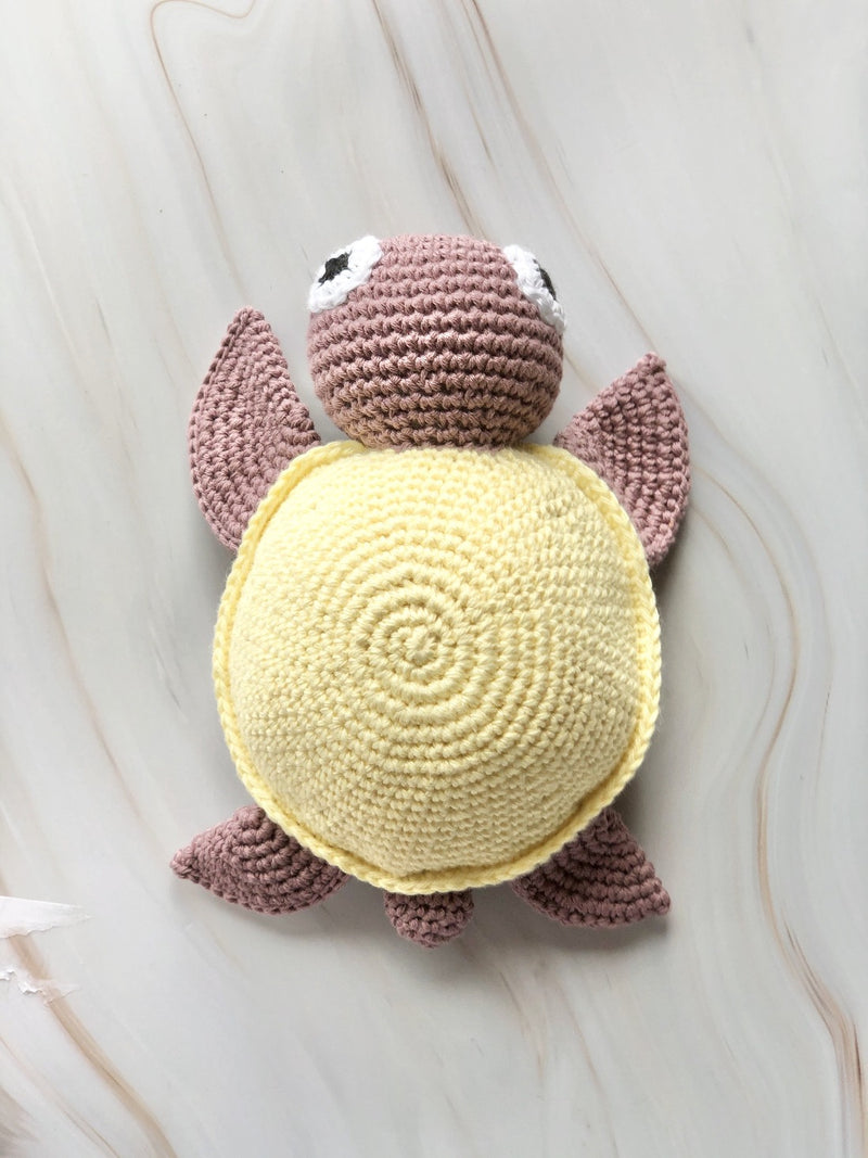 Handmade Crochet Squeakable Turtle - Yellow, The Clean Market, The Clean Market