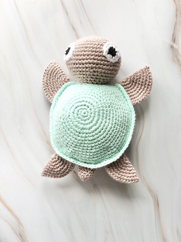 Handmade Crochet Squeakable Turtle - Turquoise, The Clean Market, The Clean Market