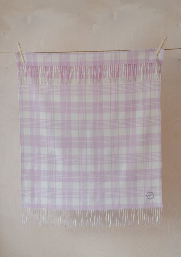 Pure Lambswool Baby Blanket - Powder Pink Check, The Tartan Blanket Co, The Clean Market