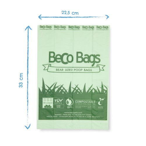 size of eco-friendly unscented compostable poop bags by Beco Pets