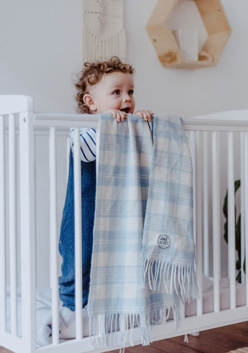 Pure Lambswool Baby Blanket - Powder Blue Check, The Tartan Blanket Co, The Clean Market