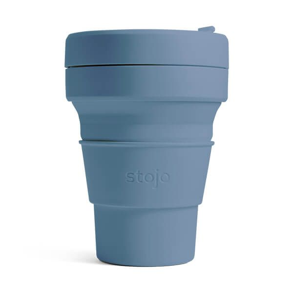 reusable and collapsible coffee cup by stojo in steel blue colour and its collapsed version