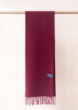 Pure Lambswool Scarf - Berry Burgundy