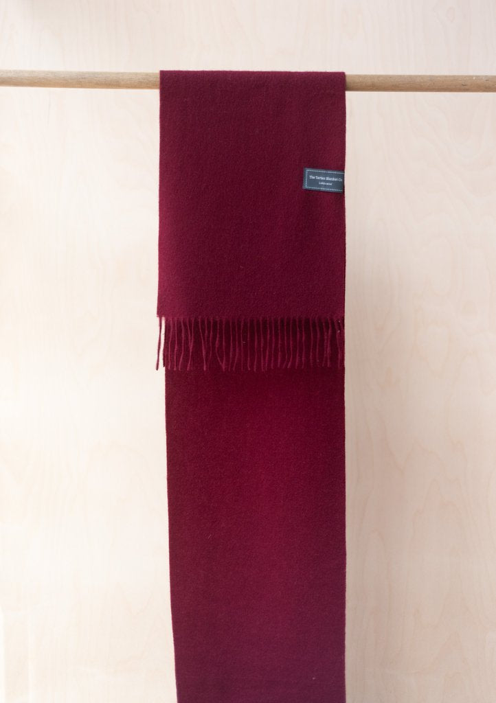 Pure Lambswool Scarf - Berry Burgundy, The Tartan Blanket Co, The Clean Market