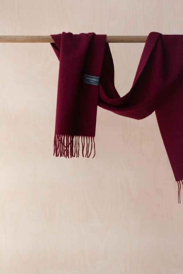 Pure Lambswool Scarf - Berry Burgundy, Scarf, The Tartan Blanket Co, - The Clean Market