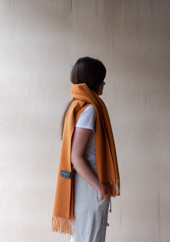 Oversized Pure Lambswool Scarf - Warm Ochre, The Tartan Blanket Co, The Clean Market