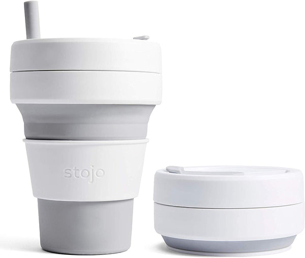 Stojo Collapsible Coffee Cup - Dove 16oz (470ml), Auteur, The Clean Market