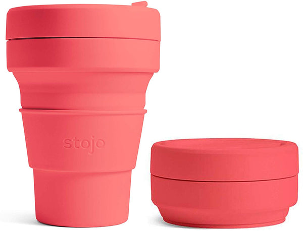 Stojo Collapsible Coffee Cup - Coral 12oz (355ml), Coffee Cup, Auteur, - The Clean Market