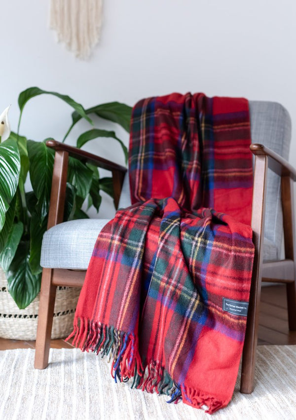 Recycled Wool Knee Blanket in Stewart Royal Tartan by The Tartan Blanket Co