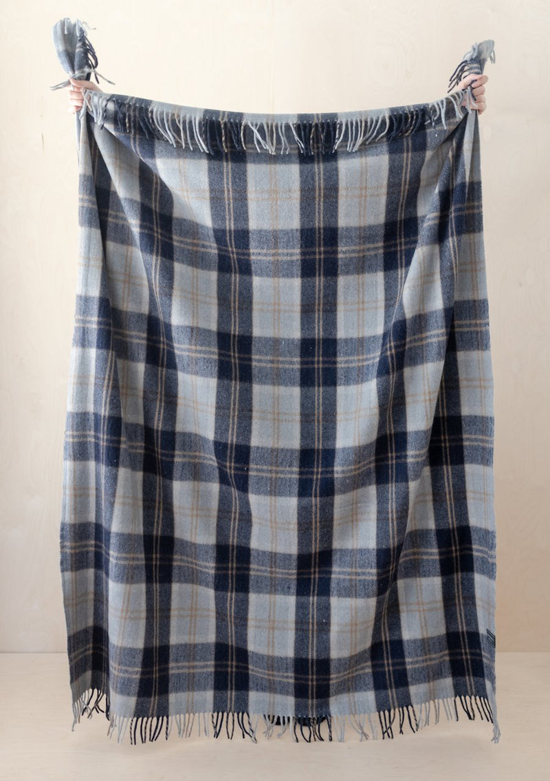 Recycled Wool Full Blanket - Bannockbane Silver Tartan, The Tartan Blanket Co, The Clean Market