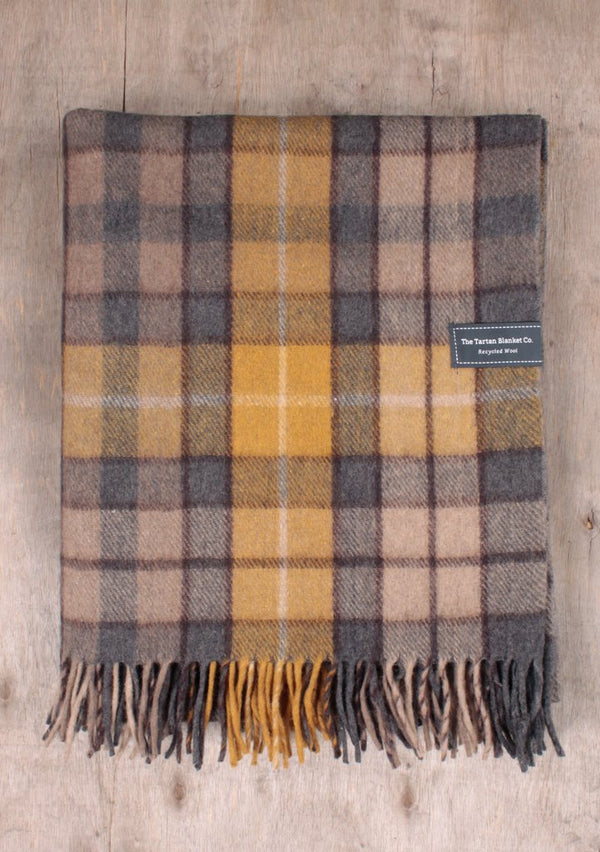 Recycled Wool Knee Blanket - Buchanan Natural Tartan, blanket, The Tartan Blanket Co, - The Clean Market