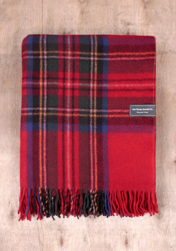 Recycled Wool Knee Blanket - Stewart Royal Tartan, blanket, The Tartan Blanket Co, - The Clean Market