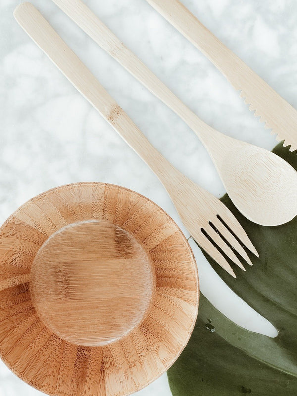 Natural and sustainable bamboo bowl and cutlery