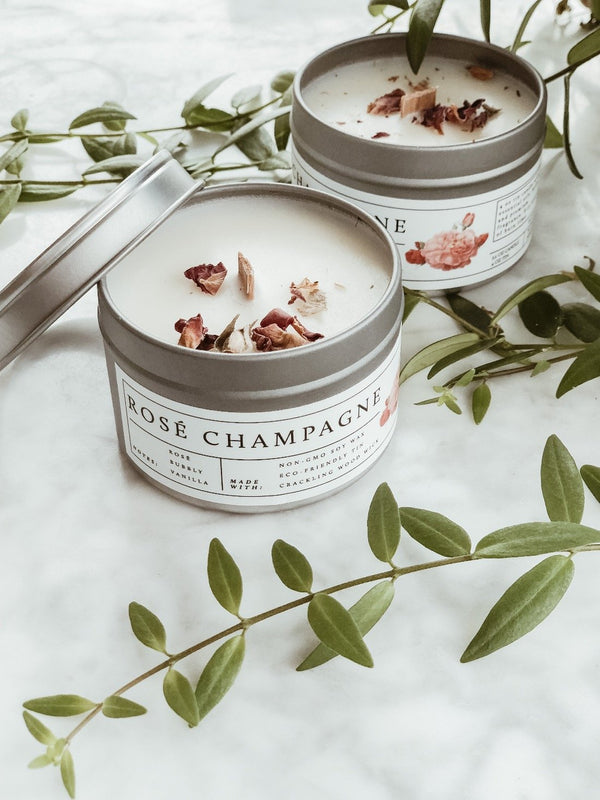 Wood Wick Vegan Candle - Rosé Champagne, Candle, No Tox Life, - The Clean Market