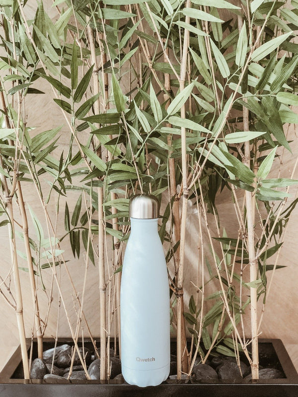 Insulated stainless steel bottle in pastel blue design with bamboo plants in the background