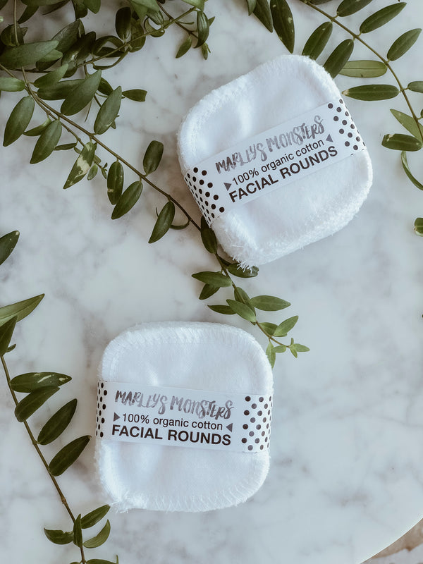 Reusable Organic Facial Rounds (Pack of 20), Facial Rounds, Marley's Monsters, - The Clean Market
