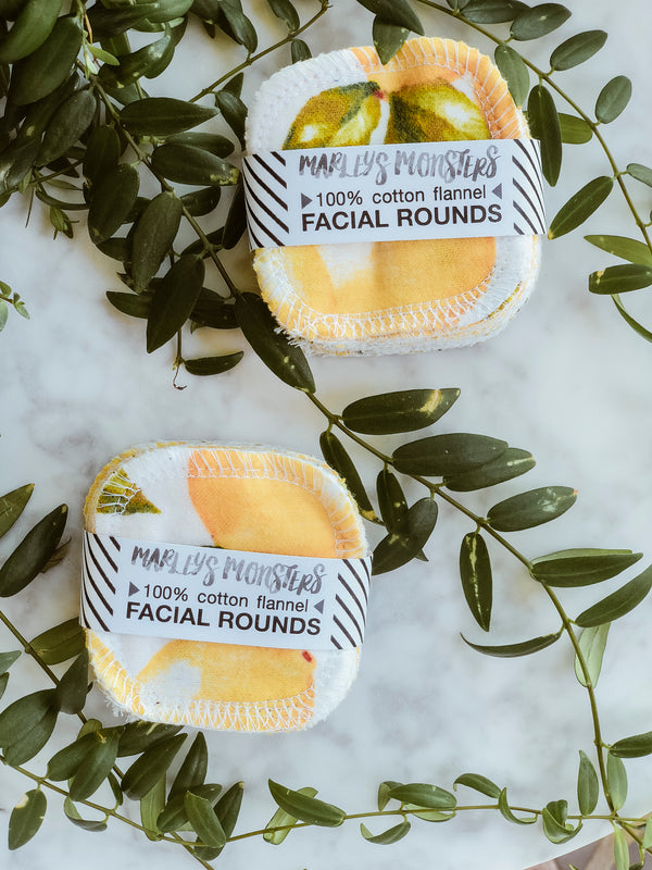 Reusable Facial Rounds (Pack of 20) - Vintage lemons, Facial Rounds, Marley's Monsters, - The Clean Market
