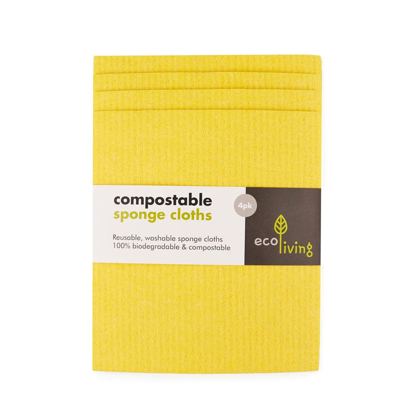 Compostable Sponge Cloths (Pack of 4), cleaning cloths, Ecoliving, - The Clean Market