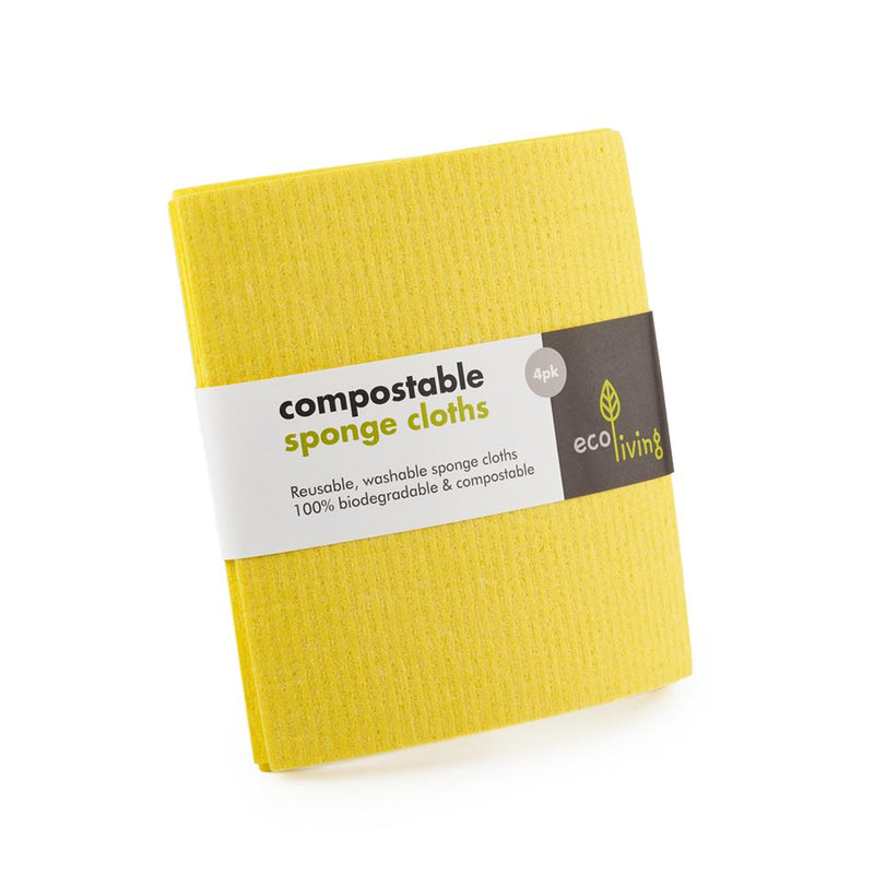 Compostable Sponge Cloths (Pack of 4), Ecoliving, The Clean Market