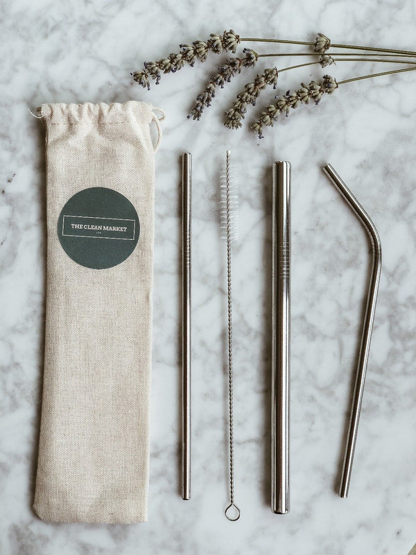 Stainless Steel Straw Set, The Clean Market, The Clean Market