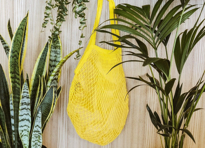 Organic cotton net bag with inner linen in yellow