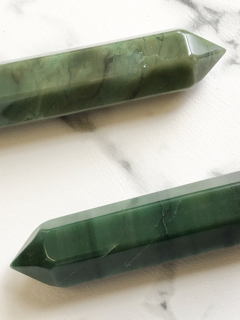 6 Faceted Massage Wand - Green Aventurine, Crystal, Holistic Trader, - The Clean Market