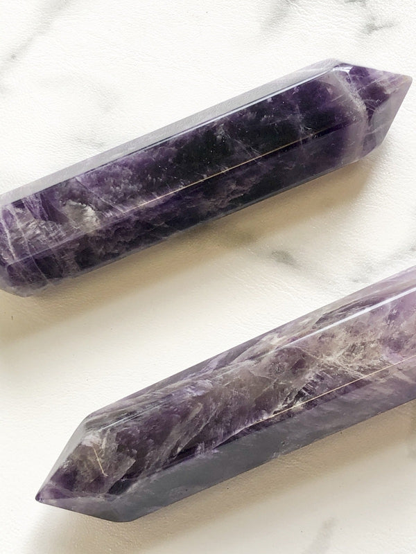 6 Faceted Massage Wand - Banded Amethyst, Crystal, Holistic Trader, - The Clean Market