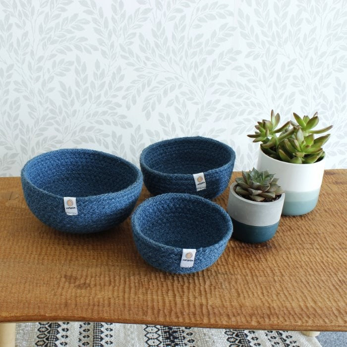 Mini Jute Bowls - Set of 3 - Denim, Bowl, Green Pioneer, - The Clean Market