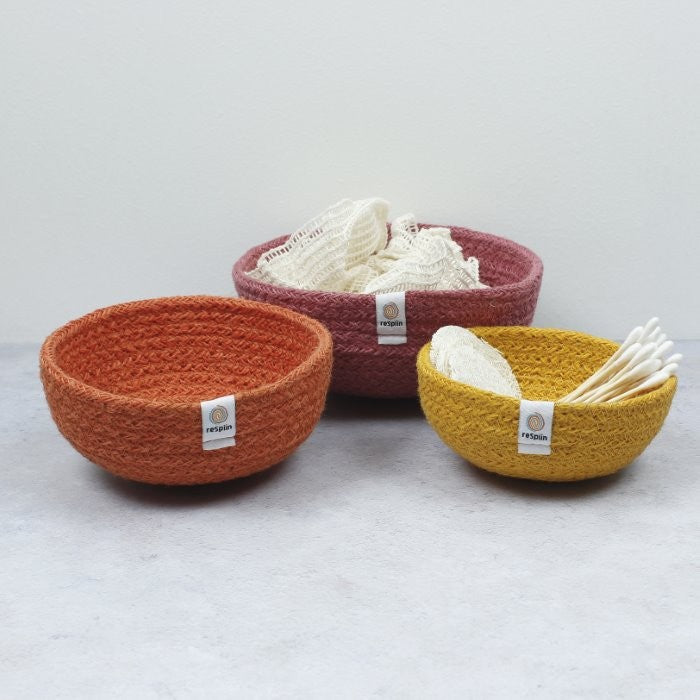 Mini Jute Bowls - Set of 3 - Fire, Green Pioneer, The Clean Market