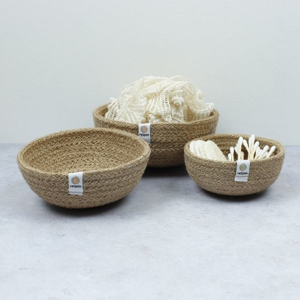 Mini Jute Bowls - Set of 3, Green Pioneer, The Clean Market