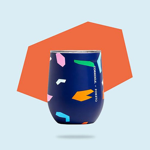 Stemless Wine Cup - Poketo Blue Confetti, Auteur, The Clean Market