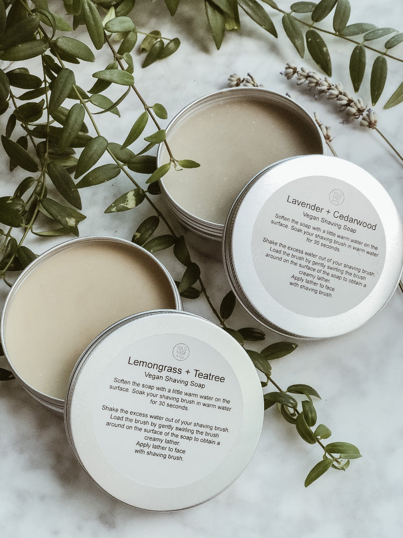 Vegan Shaving Soap - Lemongrass & Tea Tree, Wild Sage + Co, The Clean Market