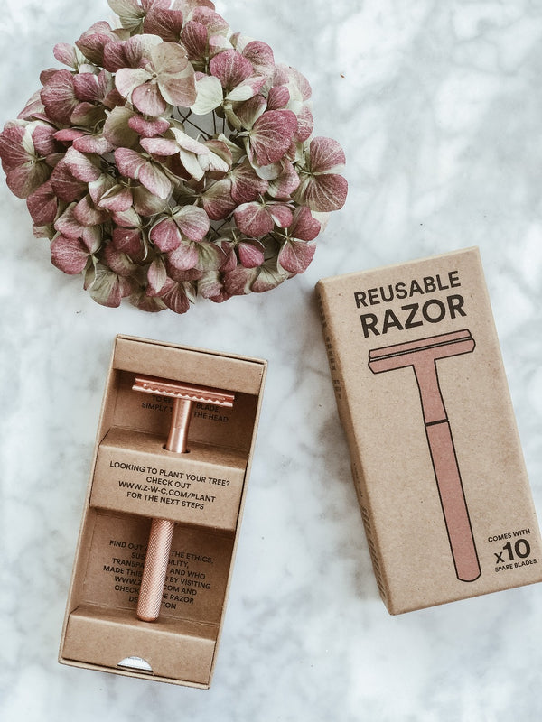 Stainless Steel Reusable Razor - Rose Gold, Shaving Kit, Zero Waste Club, - The Clean Market