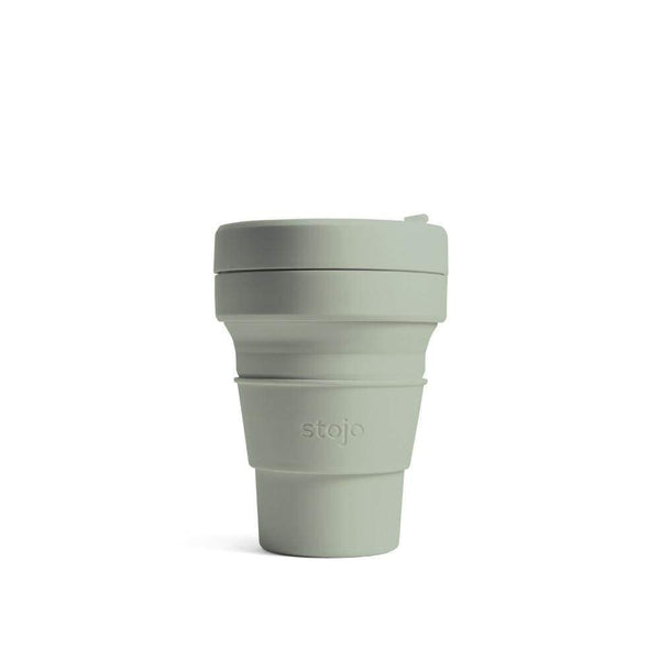 reusable and collapsible coffee cup by stojo in sage colour