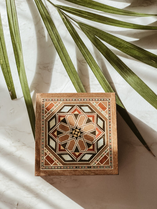 Handmade Wooden Mosaic Ring Box - Small, box, The Clean Market, - The Clean Market