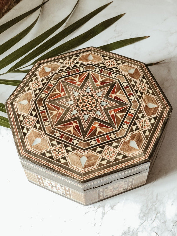 Handmade Wooden Mosaic Octagon Box, box, The Clean Market, - The Clean Market