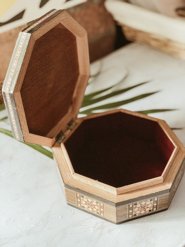 Handmade Wooden Mosaic Octagon Box, The Clean Market, The Clean Market