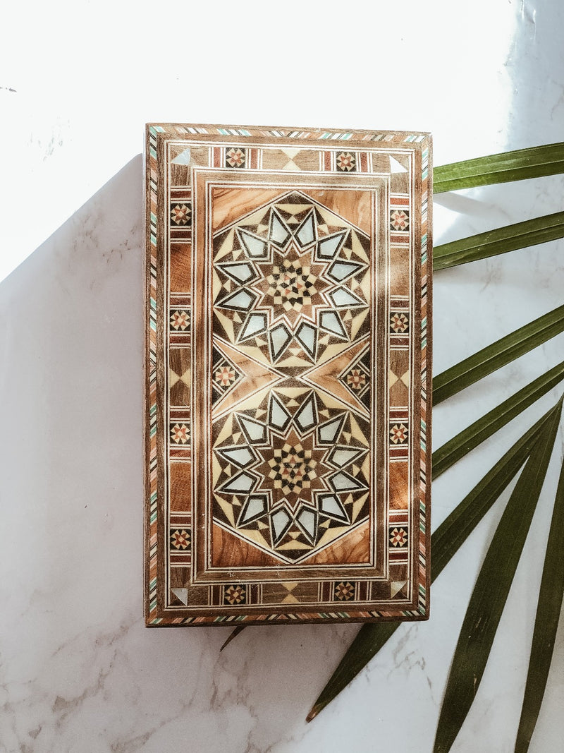 Handmade Wooden Mosaic Double Sun Box, The Clean Market, The Clean Market