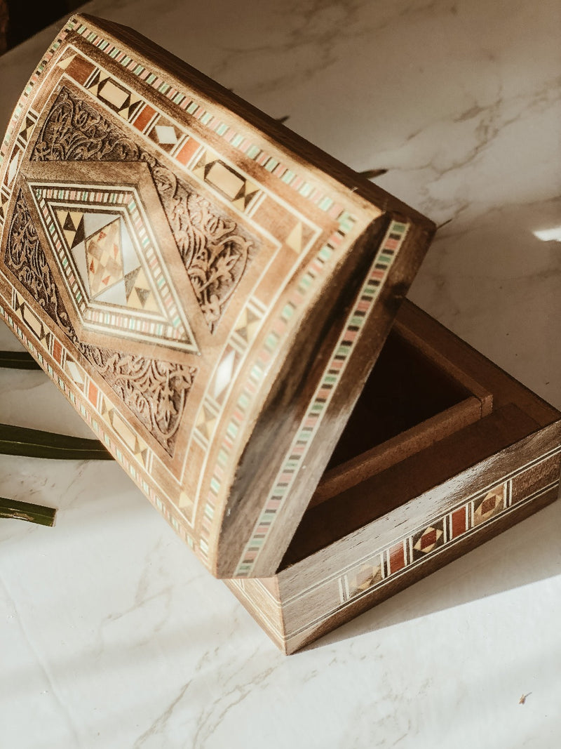 Handmade Wooden Mosaic Engraved Box, The Clean Market, The Clean Market