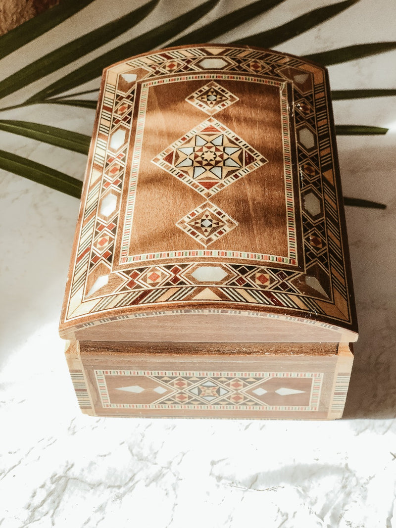 Handmade Wooden Mosaic Sayidaty Box, box, The Clean Market, - The Clean Market