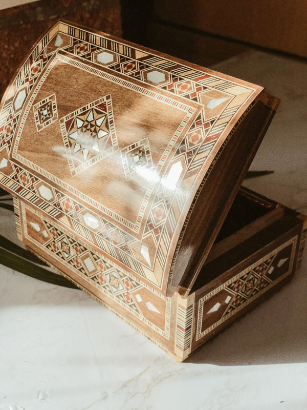 Handmade Wooden Mosaic Sayidaty Box, The Clean Market, The Clean Market