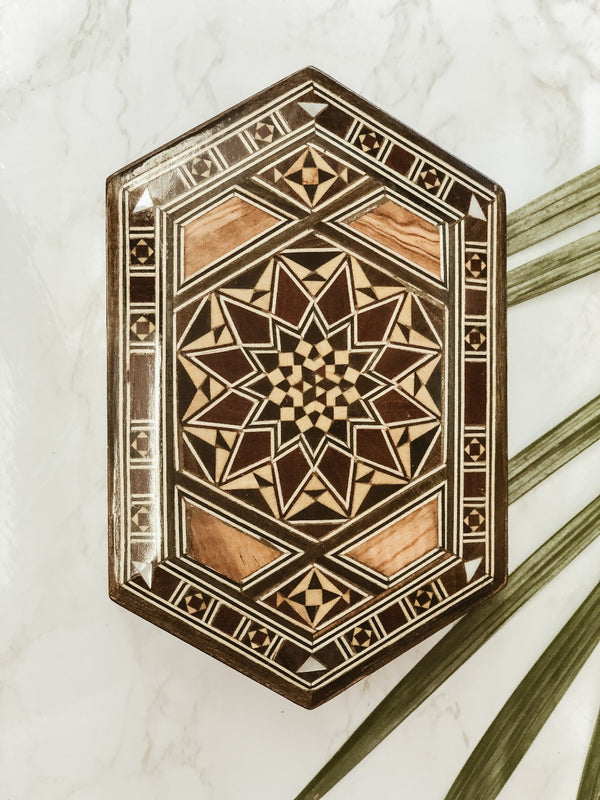 Handmade Wooden Mosaic Hexagon Box, box, The Clean Market , - The Clean Market