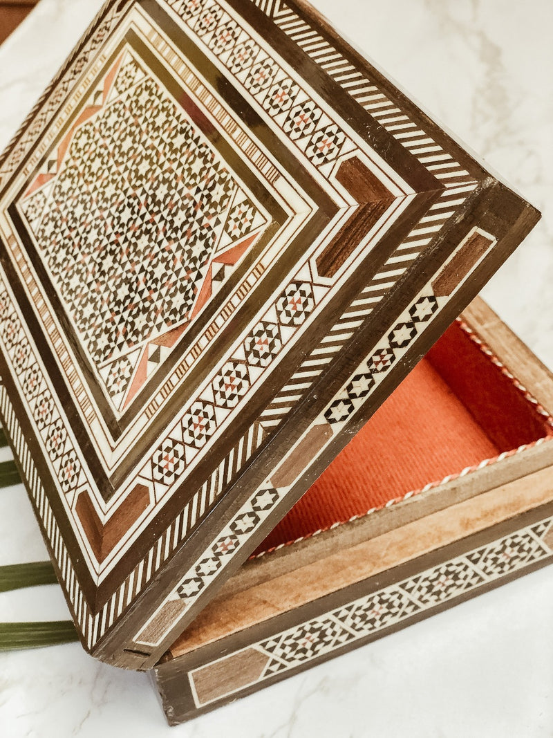 Handmade Wooden Damascene Box, box, The Clean Market, - The Clean Market