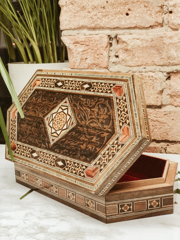 Handmade Wooden Engraved Stationery Box, The Clean Market, The Clean Market