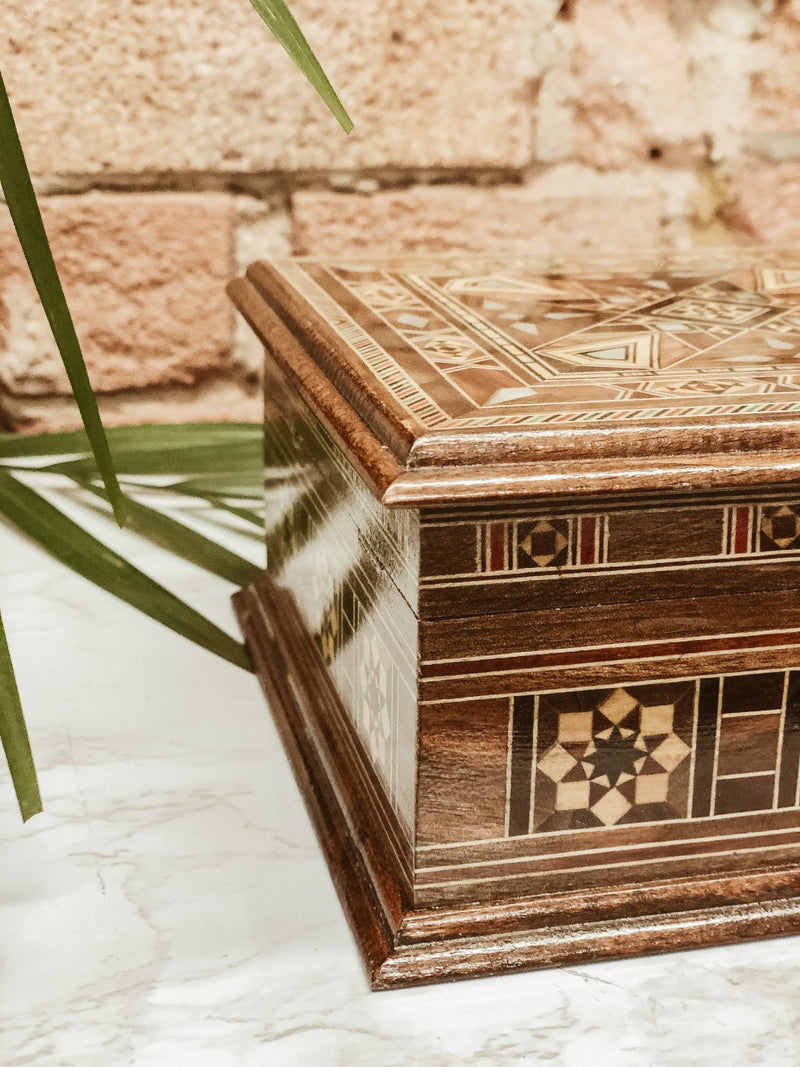 Handmade Wooden Mosaic Beauty Box, box, The Clean Market, - The Clean Market