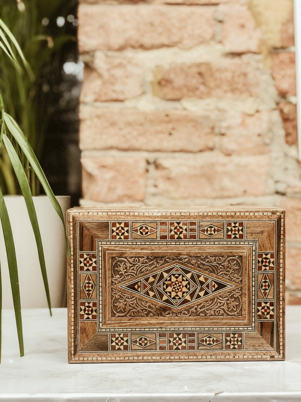 Handmade Wooden Engraved Diamond Box, box, The Clean Market, - The Clean Market