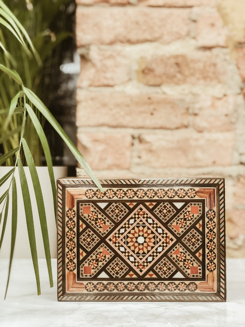 Handmade Wooden Mosaic Makeup Box, The Clean Market, The Clean Market
